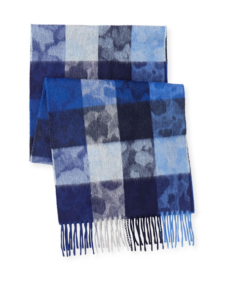 Box-Check Camo Lambswool-Angora Scarf, Blue