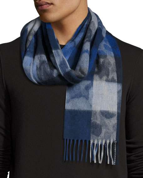 Begg & Co Box-Check Camo Lambswool-Angora Scarf, Blue