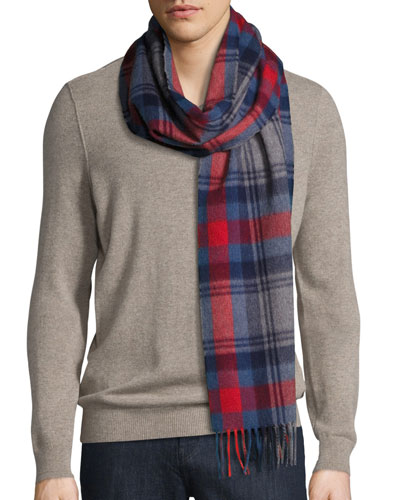 Plaid Lambswool-Angora Scarf, Hutt Red