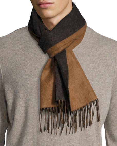 Begg & Co Langley Striped Lambswool-Angora Scarf, Brown