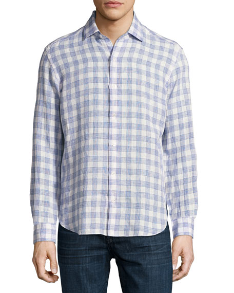 Culturata Plaid Linen Sport Shirt, White/Light Blue