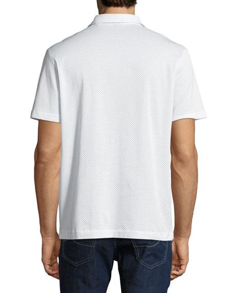 Printed Cotton Polo Shirt, White/Light Blue
