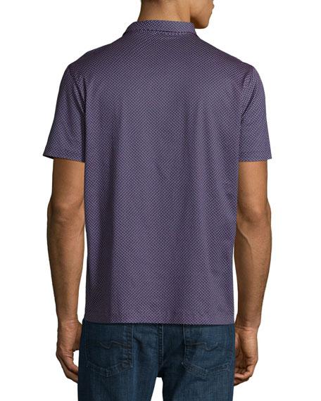 Dot-Print Cotton Polo Shirt, Navy/Red