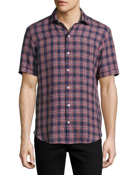 Plaid Short-Sleeve Sport Shirt, Navy/Brick