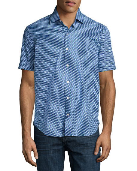 Flowers Short-Sleeve Sport Shirt, Navy/Aqua/White