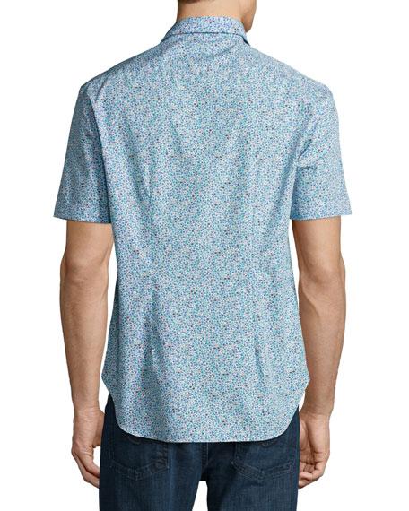 Floral Short-Sleeve Sport Shirt, White/Navy/Aqua