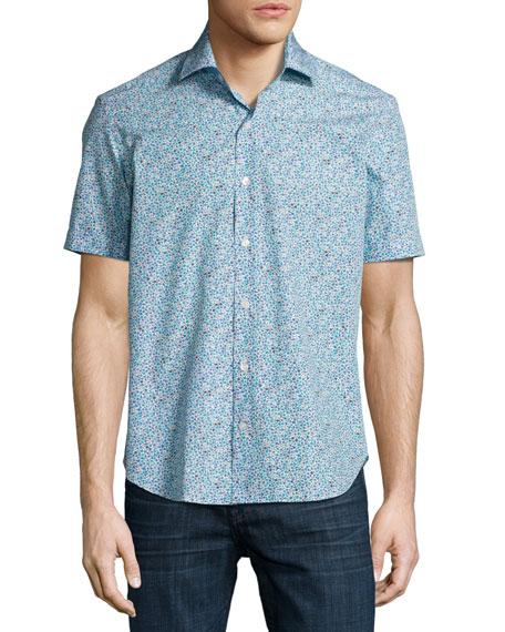 Culturata Floral Short-Sleeve Sport Shirt, White/Navy/Aqua