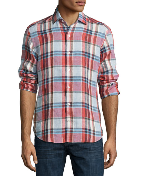 Culturata Plaid Linen Sport Shirt, Multicolor