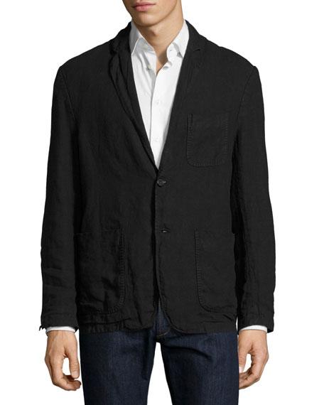 Larson Linen Two-Button Jacket, Black