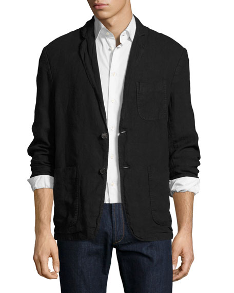 Billy Reid Larson Linen Two-Button Jacket, Black
