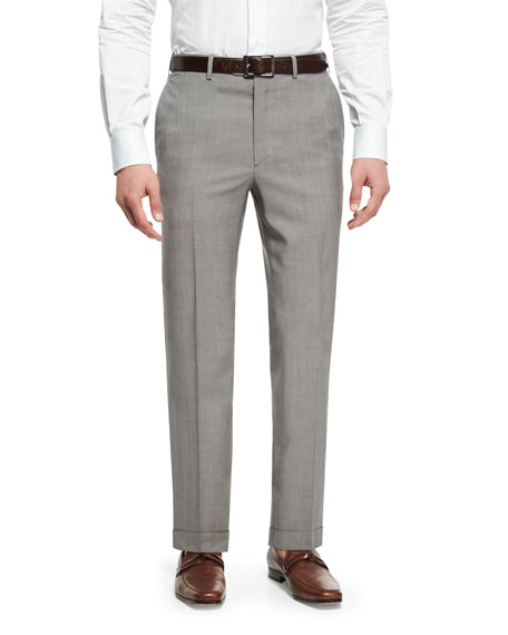 Brioni Tropical Tic Flat-Front Trousers