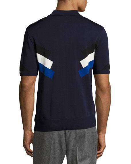 Techno Modernist-Stripe Polo Shirt, Navy