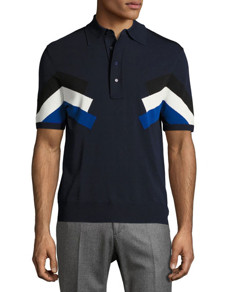 Techno Modernist-Stripe Polo Shirt, Navy