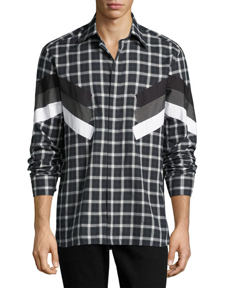 Retro Tartan Modernist-Stripe Shirt, Gray
