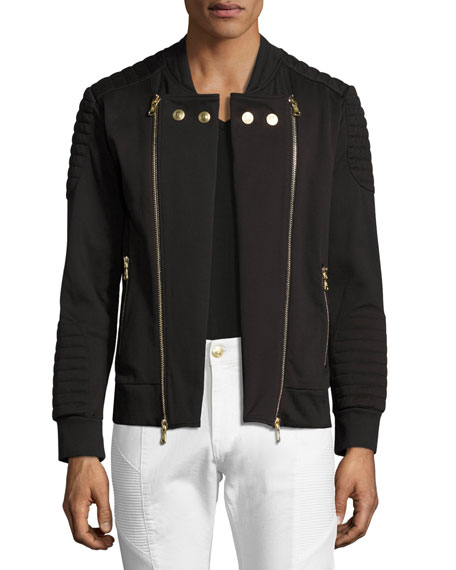 Pierre Balmain Quilted Moto Zip Sweatshirt Jacket, Black