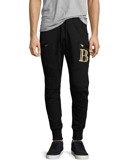 Pierre Balmain Moto Logo-Embroidered Jogger Pants, Black