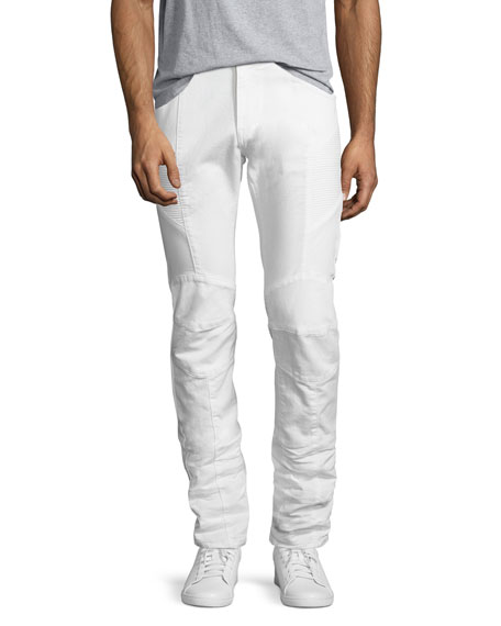 Pierre Balmain Slim-Straight Moto Jeans, Off White