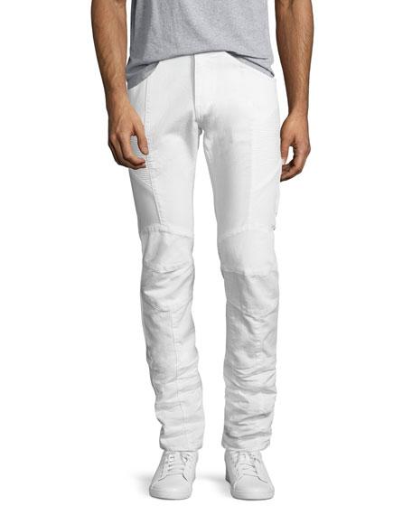 Slim-Straight Moto Jeans, Off White