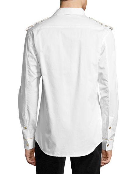 Pierre Balmain Military Shirt with Gold Buttons, Off White