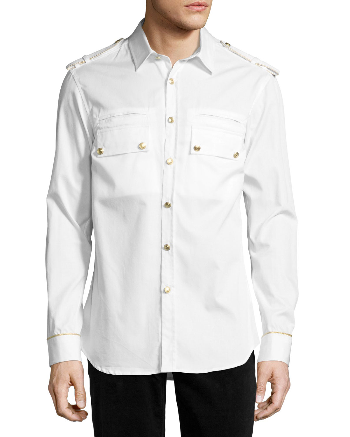 9fed7bac Pierre Balmain Military Shirt with Gold Buttons, Off White   Neiman ...
