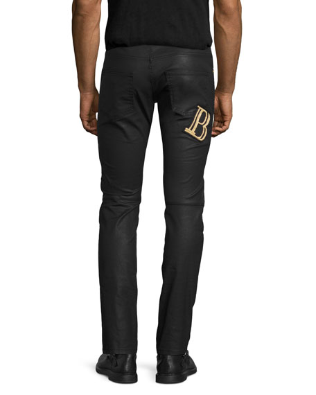 Coated Denim Skinny Moto Jeans, Black