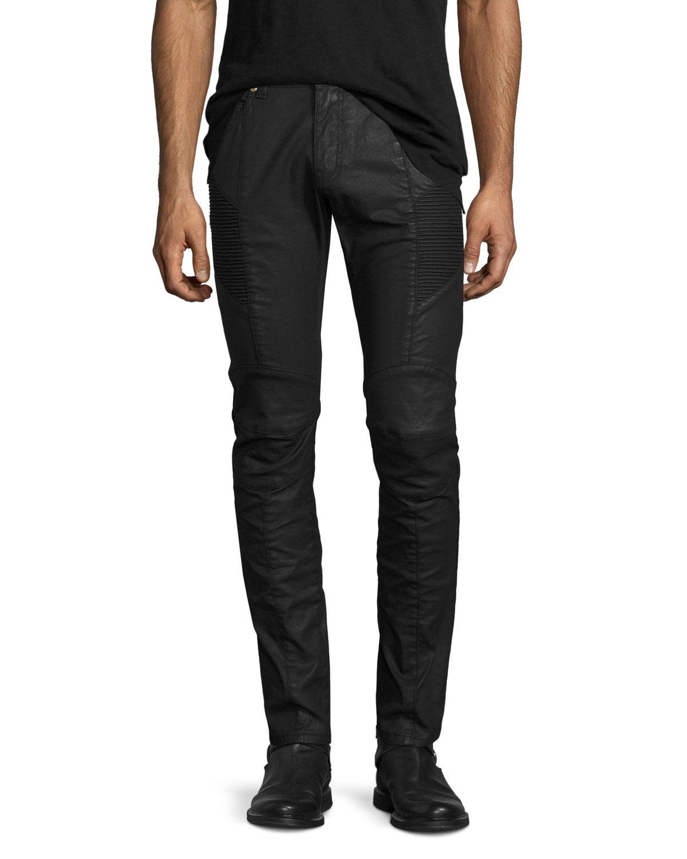 Pierre Balmain Coated Denim Skinny Moto Jeans, Black   Neiman Marcus