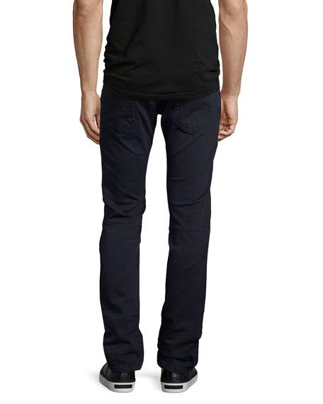 Slim-Straight Stretch-Denim Moto Jeans, Navy