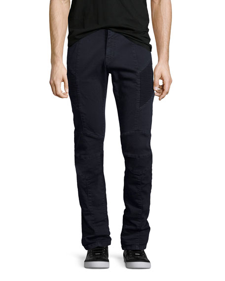 Slim-Straight Stretch-Denim Moto Jeans, Navy