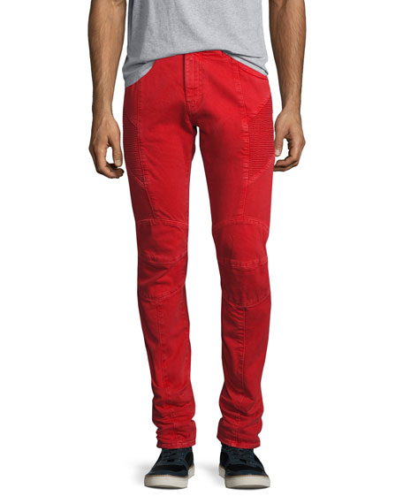 Slim-Straight Moto Jeans, Red