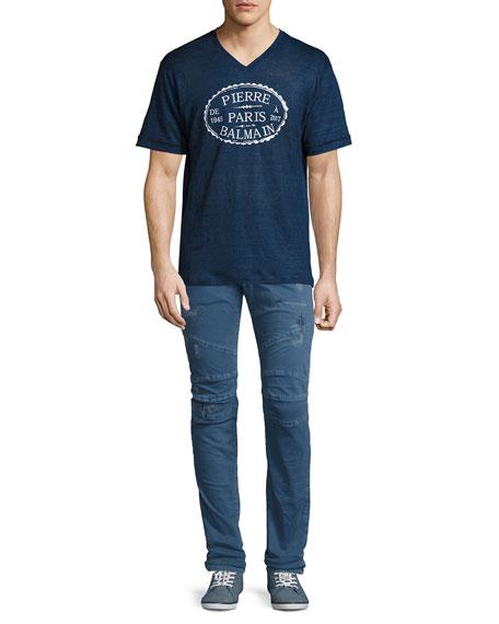 Distressed Twill Moto Slim-Straight Jeans, Light Blue
