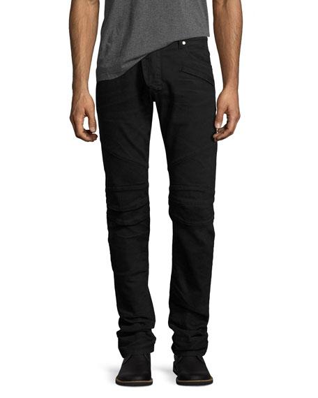 Slim-Straight Stretch-Denim Moto Jeans, Black