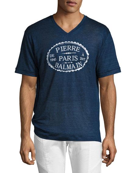 Linen V-Neck Logo T-Shirt, Blue