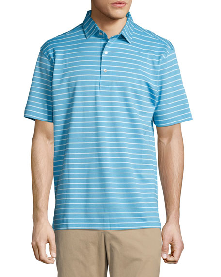 Peter Millar Falls Striped Cotton Piqué Polo Shirt,