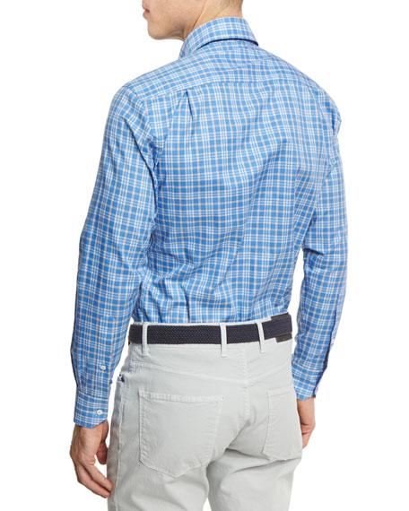 Coral Check Sport Shirt, Navy