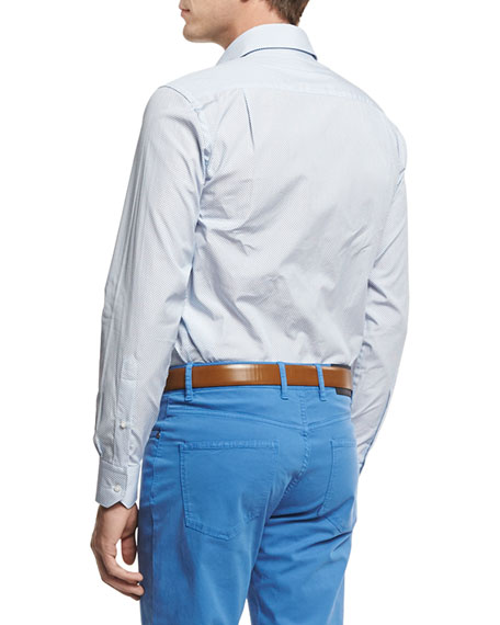 Island Print Sport Shirt, Blue