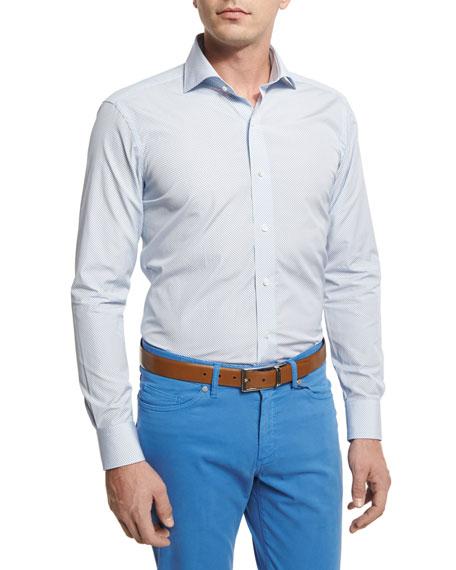 Peter Millar Island Print Sport Shirt, Blue