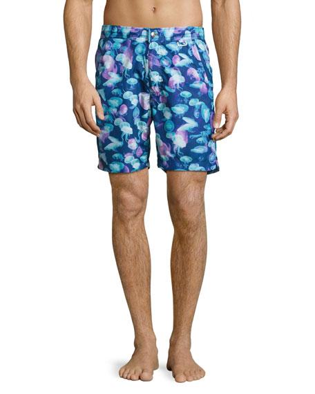 Peter Millar Moon Jellies Swim Trunks, Blue