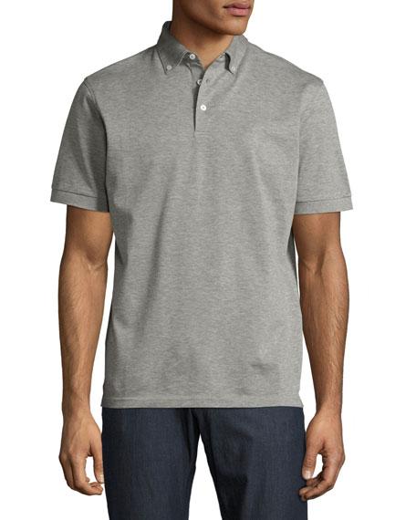 Peter millar provence heather knit polo shirt gray modesens for Peter millar polo shirts