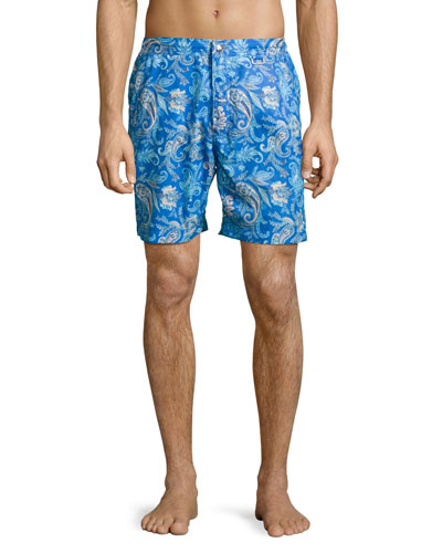 Paradise Paisley Swim Trunks, Navy