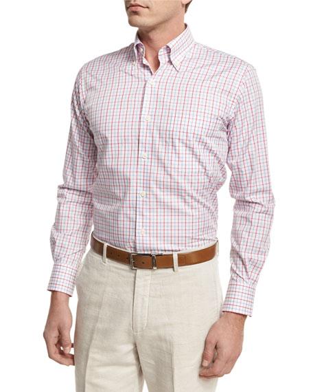 Peter Millar Marina Tattersall Sport Shirt, Pink