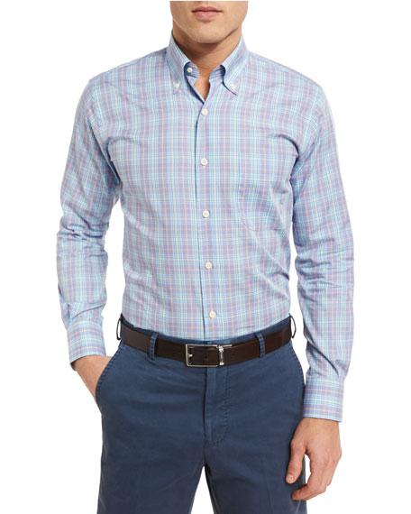 Peter Millar Pacific Glen Plaid Sport Shirt, Purple