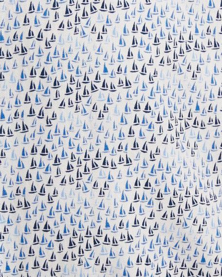 Seaside Sailboat-Print Short-Sleeve Sport Shirt, Blue
