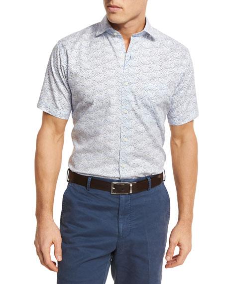 Peter Millar Seaside Sailboat-Print Short-Sleeve Sport Shirt,