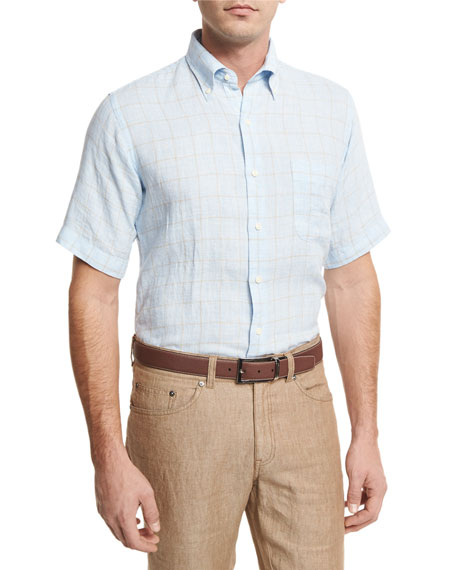 Peter Millar Crown Cool Glen Plaid Short-Sleeve Sport