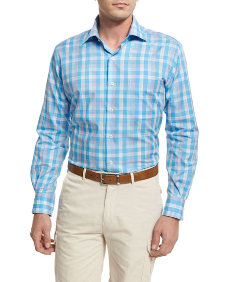 Peter Millar Bay Plaid Sport Shirt, Blue