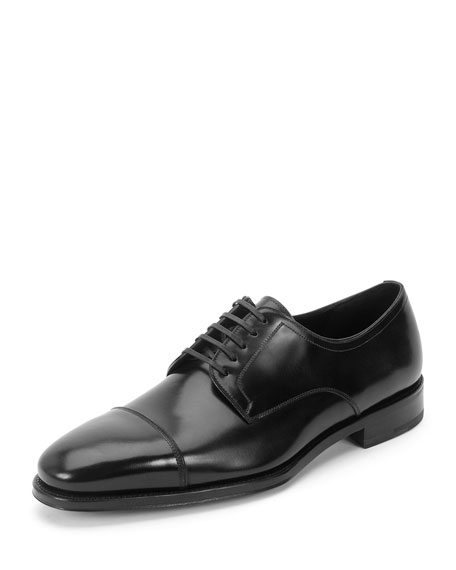 Salvatore Ferragamo Cap-Toe Lace-Up Oxford, Black