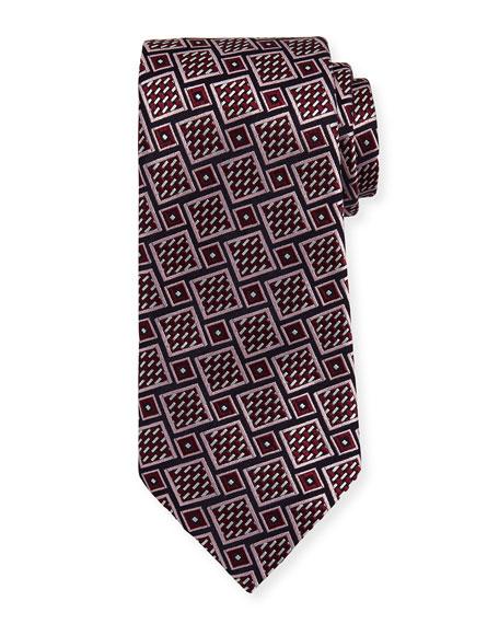 Basketweave Geometric Tie, Wine