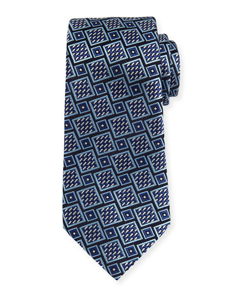Basketweave Geometric Tie, Navy