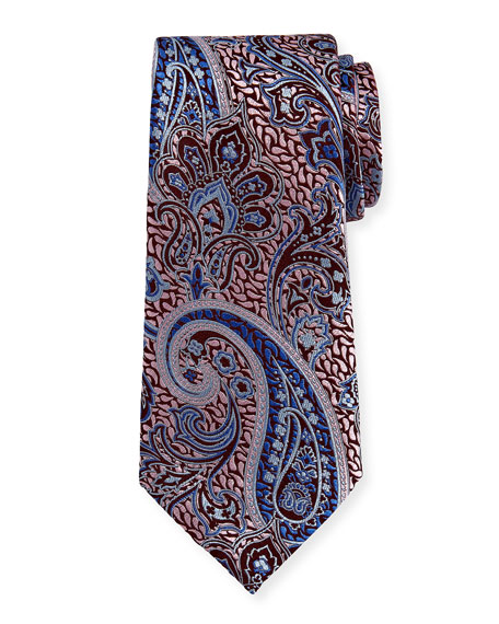 Woven Paisley Silk Tie, Pink