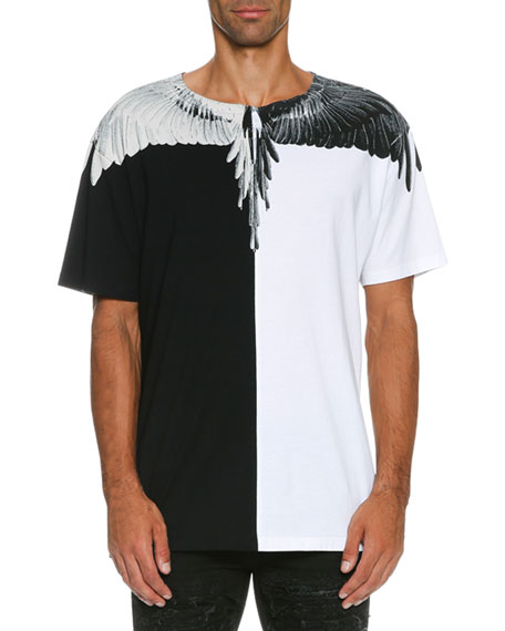Marcelo Burlon Naldo Colorblock Wing T-Shirt, Black/White | Neiman ...